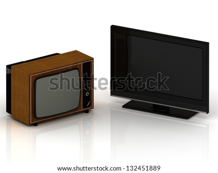 Old TV in a wooden case and a new LSD TV set on a white background - stock photo