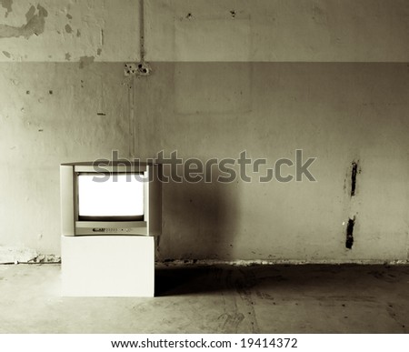 Old TV in Old Room - stock photo