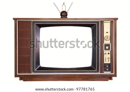 old tv isolated - stock photo