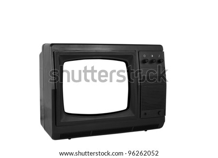 old TV isolated on a white background - stock photo