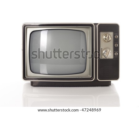 Old TV isolated on white - stock photo