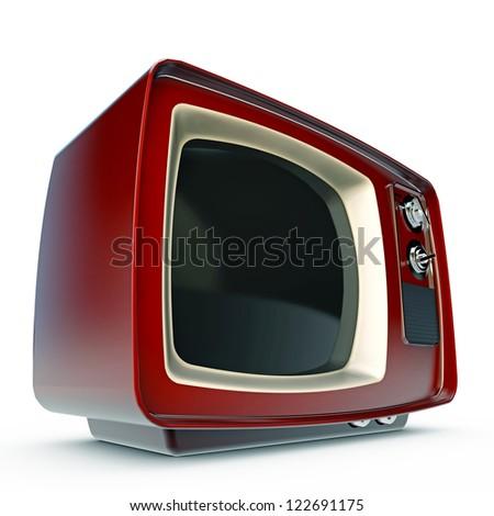 old tv isolated on white background - stock photo
