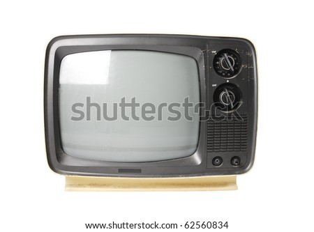 Old TV isolated on white.with path - stock photo