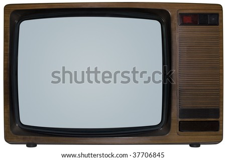 Old TV isolated with clipping path inside and outside - stock photo