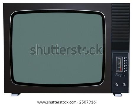 Old TV on white background - stock photo