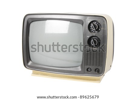 Old TV on white.with path - stock photo