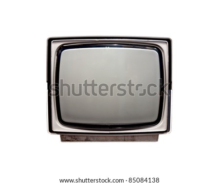 old tv over white background.