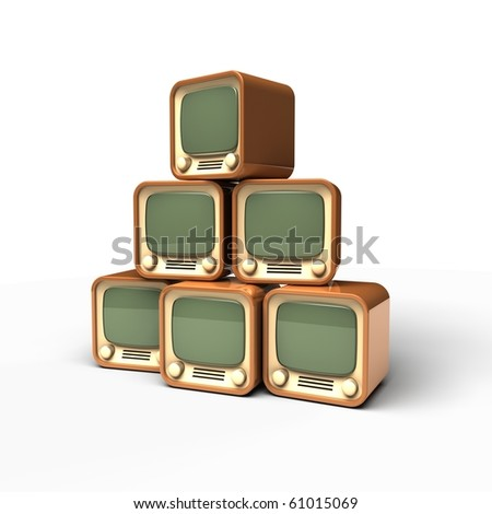 old TV pyramid icon on white background - stock photo