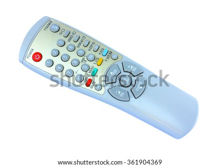 Old TV remote control on white background - stock photo
