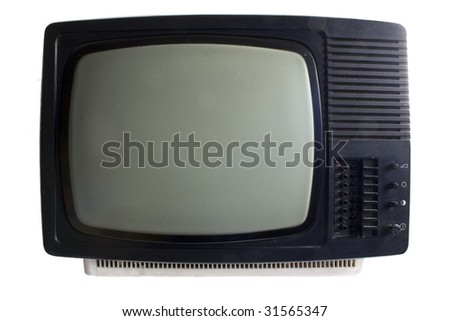 Old TV set - black and white, isolated - stock photo