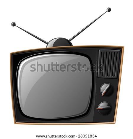 Old TV set isolated on white - stock photo
