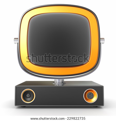 Old TV set isolated on white. Abstract design