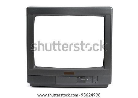 Old TV set with blank white screen - stock photo