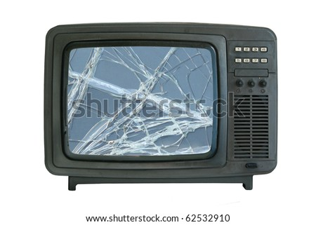 old tv-set with broken screen isolated - stock photo