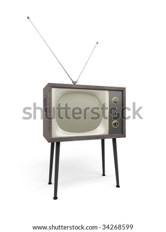 Old TV with antenna set stands on props, isolated on white - stock photo