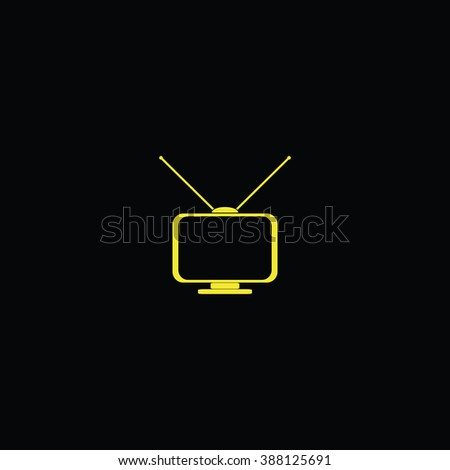 Old TV with antennas. Flat icon. - stock photo
