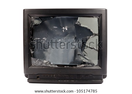 Old TV with broken screen - stock photo