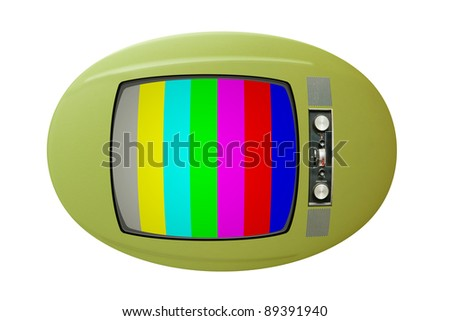 Old TV with color bars on screen - stock photo