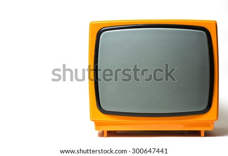 Old TV with copy space. - stock photo