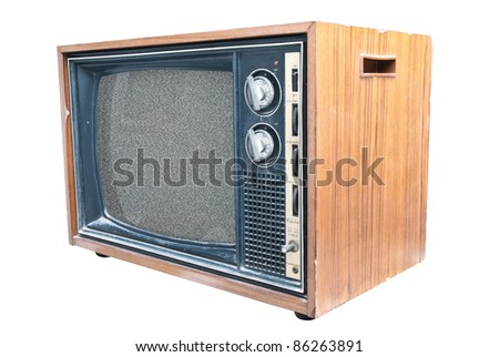 Old TV with noise on screen. Retro Television concept. No signal on screen.