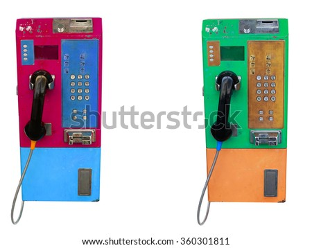 Old two color telephone isolated on white. - stock photo