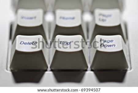 Old type computer keys delete,end, page down close up in contrast light. - stock photo