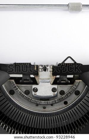 old typewriter close up: page blank - stock photo