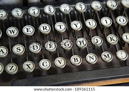 Old typewriter closeup o keys - stock photo