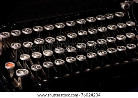 Old typewriter, deadline text - stock photo