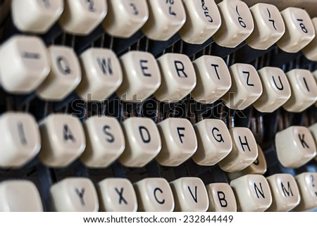 Old typewriter. Image digitally manipulated as one old photography. - stock photo