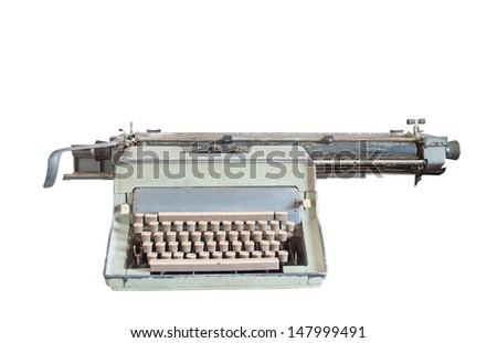 Old typewriter isolated on a white background. - stock photo
