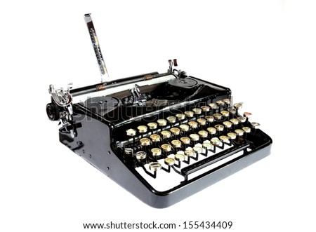Old typewriter isolated on a white background