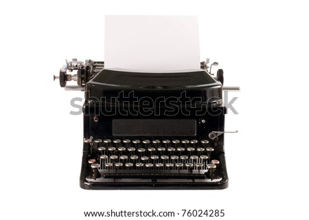 Old typewriter isolated on a white background - stock photo