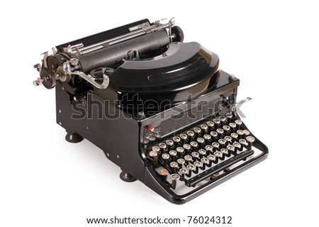 Old typewriter isolated on a white background - stock photo