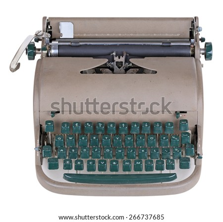 Old typewriter, isolated on white background - stock photo