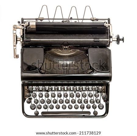 Old typewriter isolated on white background. Antique object. Top view - stock photo