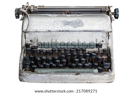 Old typewriter isolated on white background with clipping path - stock photo