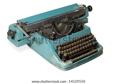 Old typewriter isolated with clipping path over white background - stock photo