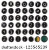 Old typewriter keys, alphabet and numbers, isolated on white background - stock photo