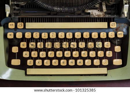 Old typewriter keys close up. - stock photo