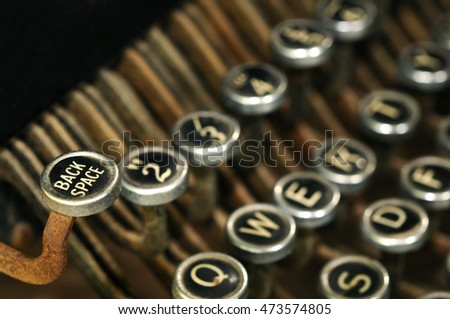 Old typewriter keys, close up image with selective focus.