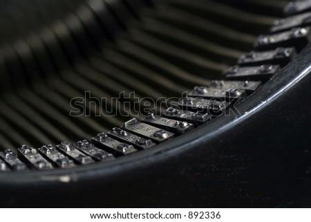 Old Typewriter Keys Closeup - stock photo