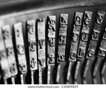 old typewriter, macro shot - stock photo