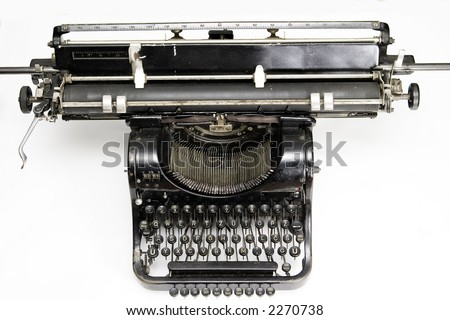 old typewriter on white background, shot from above - stock photo