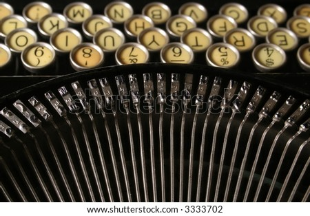 old typewriter view from above - stock photo