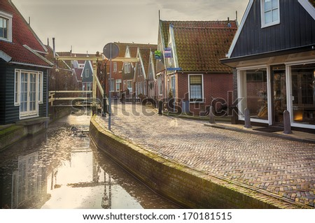 old typical dutch village  - stock photo