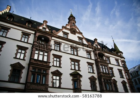 Old typical houses in Leipzig, Germany - stock photo