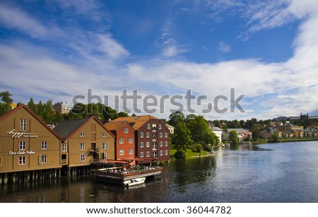 Old typical wooden houses in Trondheim, Norway
