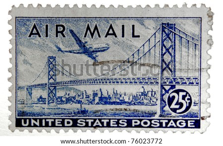 Old U.S. airmail postage stamp - stock photo