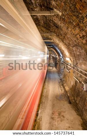 "old underground tram called ""Tunnel"" Beyoglu - Istanbul (Turkey) - stock photo"